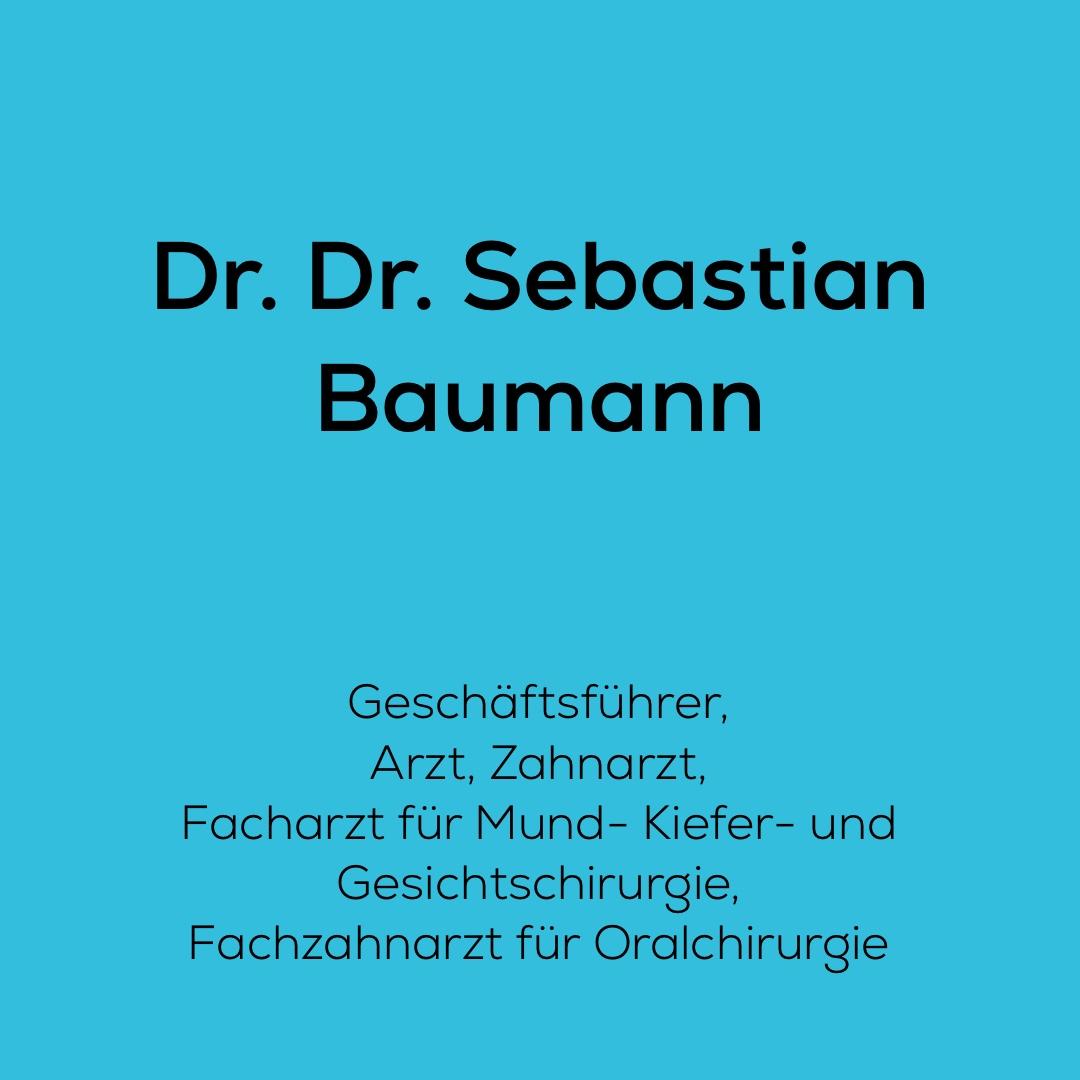 Dr. Dr. Sebastian Baumann, Gründer und Geschäftsführer von dent + face ist tätig als Arzt, Zahnarzt, Facharzt für Mund-, Kiefer- und Gesichtschirurgie, Fachzahnarzt für Oralchirurgie, Schwerpunkt Zahnimplantate, Implantologie